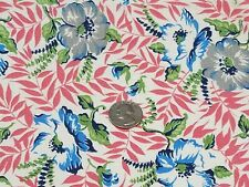 Vintage Full Feedsack: Pink Leaves with Blue and Gray Flowers