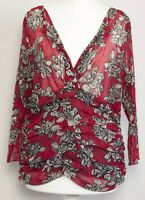 COAST Red White Floral 3/4 Sleeve Sheer V-Neck Ruched Stretch Blouse Top Size 18