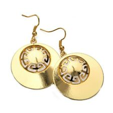 Womens Gold Look Hoop Dangly Disc Earrings