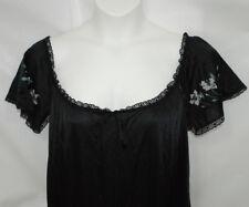VTG Tom Bezduda Barad Size Large Black Night Gown Boudoir Lingerie Floral Lace