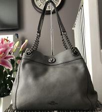 Beautiful Genuine Coach Edie Grey Pebbled Leather Over Shoulder Bag, Handbag