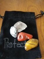 PROTECTION Tumbled Crystal Healing  = 4 Stones + Pouch