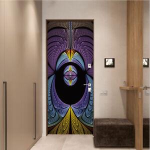 Abstract Purple Blue Pattern Door Sticker Bedroom Door Mural Home Wallpaper Dec