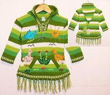 Pullover-Kleid grün + weiß, Tiere,Gr. 92*98, XXL-Zipfelkapuze Fransen Sonne Peru
