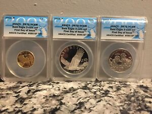 2008 P D S Bald Eagle 3 Coin Set Dcam PR70 First Day Of Issue Gold & Silver Set