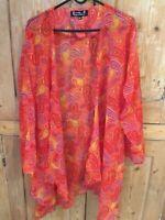 Banke B polyester chiffon red/mult paisley print long floaty jacket/cardigan M/L