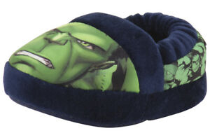 Incredible Hulk Toddler Boy's Green/Navy Slippers Shoes Sz: S; 5-6T