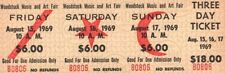 JIMI HENDRIX 1969 ORIGINAL UNUSED WOODSTOCK FESTIVAL $18 THREE DAY TICKET / NMT