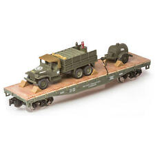 ** NEW - O GAUGE RAILROAD TRAIN MILITARY LONG FLATCAR WITH DEUCE AND A HALF **