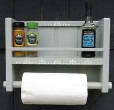 Kitchen Roll Holder/Spice rack cabinet, wall mounted, Shabby Chic, Hand made