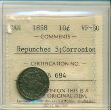 ICCS CAN 1858 10 cents VF-30 Repunched 5; Corrosion SB 684