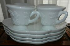 vintage Anchor Hocking Milk Glass 4 CUPS 4 PLATES SNACK SETS  GRAPES & LEAVES