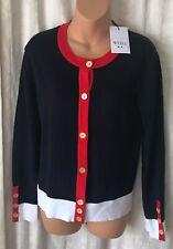 Weill Paris Twin Set Cardigan Jacket Red White Blue  Size 40 - 8