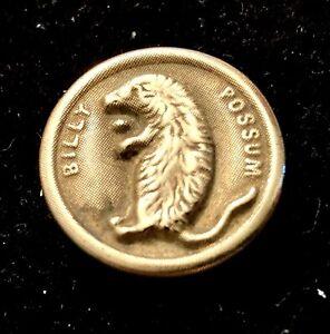 """Antique brass William Harding Taft button, Billy Possum, 7/8"""" #4706"""