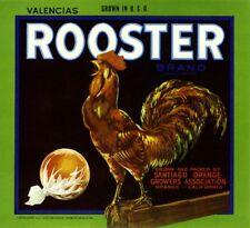 Orange County Cock Rooster #2 Chicken Orange Citrus Fruit Crate Label Art Print