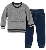 Calvin Klein Infant Boys Logo Sweater 2pc Pant Size 12M 18M 24M $50