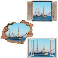 Window Wall Sticker Decal Vinyl 3D Ship pirate Sea Beach home art room decor