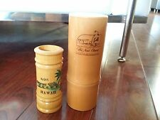 Vintage NEW OTANI HOTEL HAWAII TIKI BAR BAMBOO CERAMIC MUG WOOD SHOT GLASS