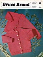 "~ Bruce Brand Baby Knitting Pattern For Round & V-Neck Cardigans ~ 16"" ~ 24"""