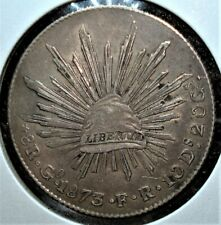 1873 Go FR Silver 8 Reales Coin from Mexico in Large Holder