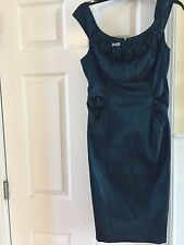 London Times Rose Bud Ruched Green dress Fitted Size 12, Wear ONES, Gently Used