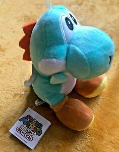 """Super Mario Plush Teddy - Aqua Blue Yoshi Soft Toy -Size 7"""" /17.5cm NEW & Tagged"""