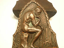 Thinking Man Bookends Copper Flash over Cast Iron Copyright CT