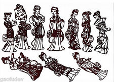 Chinese Paper Cuts Ladies of Red Mansion Set Grayish Black 10 small pieces