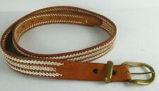 Men's Western Leather Belt 42-49 Brown / White 8 Holes