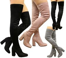Ladies Thigh High Party Stretch Over The Knee Boots High Block Heel Shoes Size