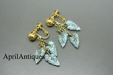 Vintage Miriam Haskell turquoise glass leaf drop earrings
