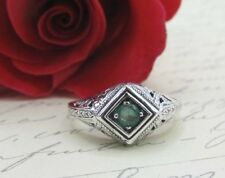 Natural Emerald Ring Sterling Silver Filigree May Birthstone Art Deco Vtg Sz 9