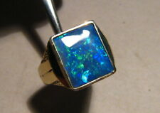 Large Black opal  Mens  Ring Solid 14 k Gold