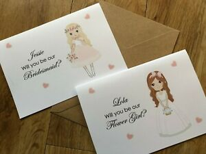 Personalised Will you be My Flower Girl, Maid of Honour, Our Bridesmaid, Invite