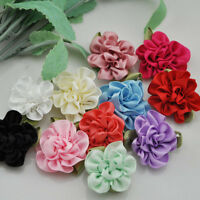 20pc Ribbon Flowers Bows W/leaf Party Wedding Decoration Craft Appliques B68