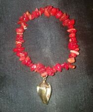 Red Coral Chip Stretch bracelet, Gold Dipped Cowrie Shell Charm, Tribal Beach!
