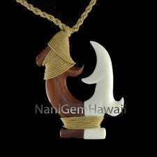 Fish Hook Hawaiian Polynesian Hand Carved Buffalo Bone Makau Design Necklace