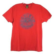 Lucky Brand Classic Fit Blue Jeans Round Logo Graphic T-Shirt Red Men's Size M