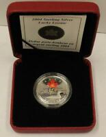 2004 Canada $1 Olympic Lucky Loonie Coloured Coin Sterling Silver Case COA RCM