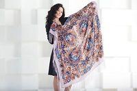 Pavlovo Posad style  Scarf Russian Shawl Wool  Fringe (120x120 cm)