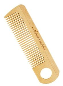 Wood Hair Comb Birch Natural Fine Tooth For Detangling Anti-Static with Hole