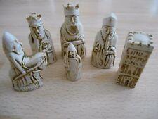 Miniature Isle of Lewis Fantasy Model Resin Chess Set Mahogany & Ivory effect