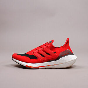 Adidas Running Ultraboost 21 Red Black Parley Ocean Plastic New Men Gym FY0387