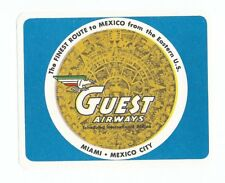 Authentic Vintage Luggage Label ~ GUEST AIRWAYS ~ Miami to Mexico City