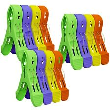 Attmu Beach Towel Clips for Beach Chairs(12 Pack), Towel Holder in Fun Br. New