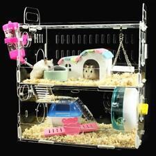 Hamster Gerbil Acrylic Cage House Nest Castle Play Space Rat Habitat 13*11*7inch