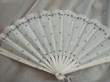 Vintage Hand Fan Carved Bone Silver Sequins Silk 8x14 Edwardian Antique