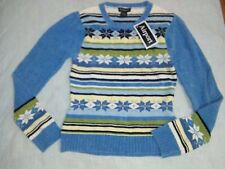 Girl's Airport Blue Striped Floral Pullover Sweater Top Size Large NEW