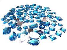 CraftbuddyUS 80 pieces Turquoise Faceted Acrylic Sew On Crystal Rhinestone Gems
