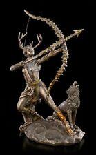 Artemis Figur auf Mond mit Wolf - Fantasy Griechische Göttin Jagd Deko Statue